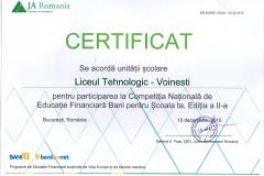 Certificat de participare la Competiția Națională de Educație financiară Bani pentru școala ta
