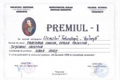 Premiul I - Concursul Județean 24 ianuarie 1859 în conștiința românilor