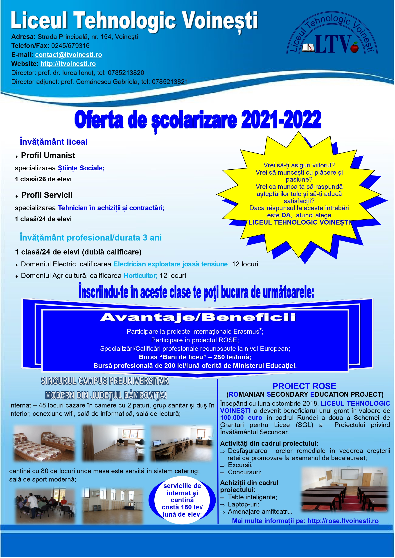 Oferta scolarizare 2021-2022