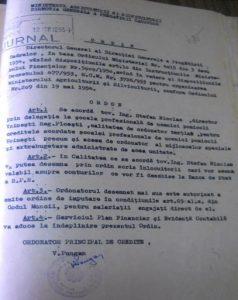 Ordinul de numire în funcţia de director a prof. Nicolae Ştefan